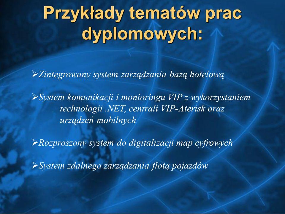Przykłady tematów prac dyplomowych: