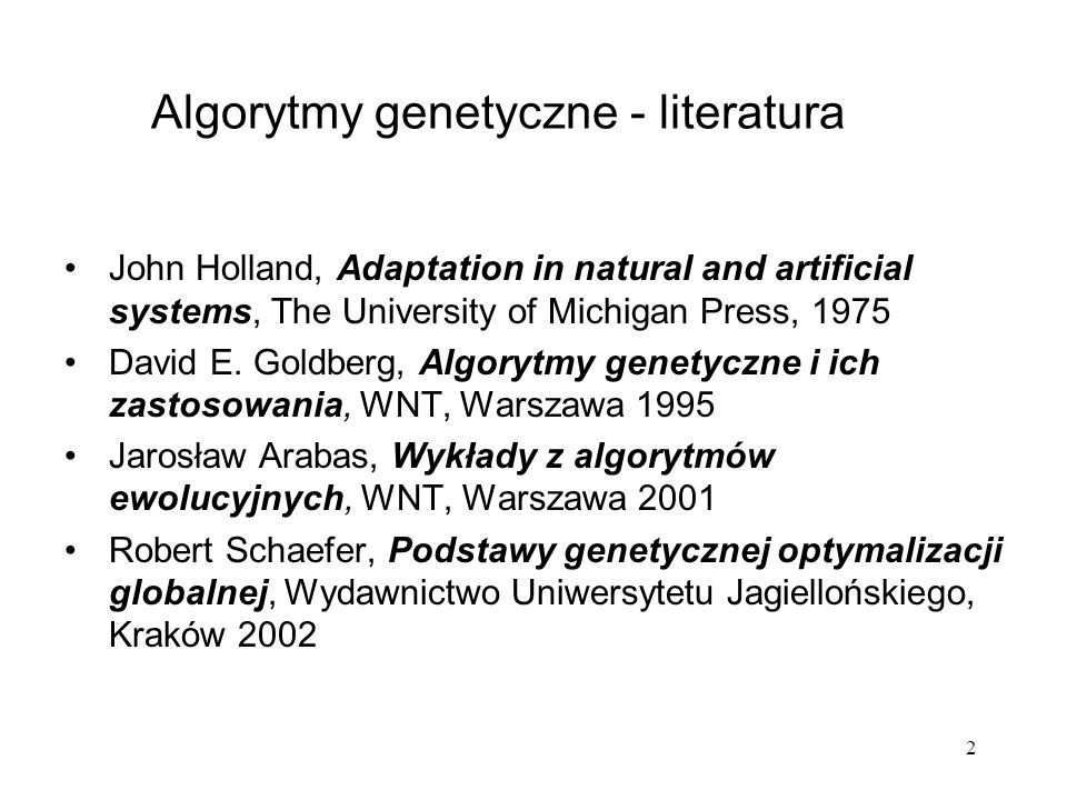 Algorytmy genetyczne - literatura