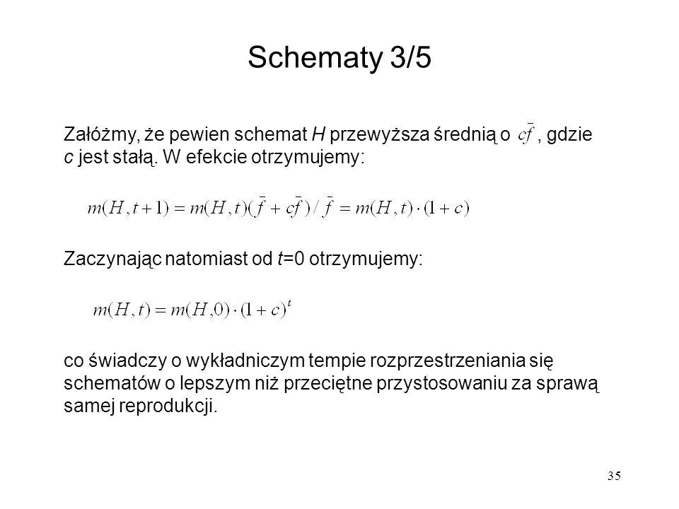 Schematy 3/5 Załóżmy, że pewien schemat H przewyższa średnią o , gdzie c jest stałą. W efekcie otrzymujemy: