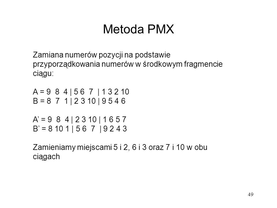 Metoda PMX Zamiana numerów pozycji na podstawie przyporządkowania numerów w środkowym fragmencie ciągu: