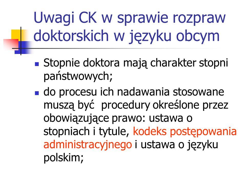 Uwagi CK w sprawie rozpraw doktorskich w języku obcym