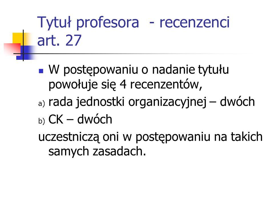 Tytuł profesora - recenzenci art. 27