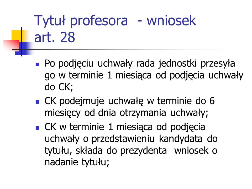 Tytuł profesora - wniosek art. 28