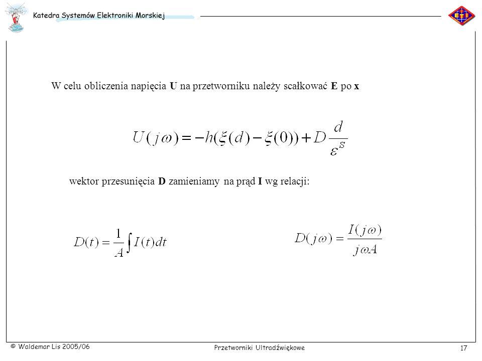 W celu obliczenia napięcia U na przetworniku należy scałkować E po x