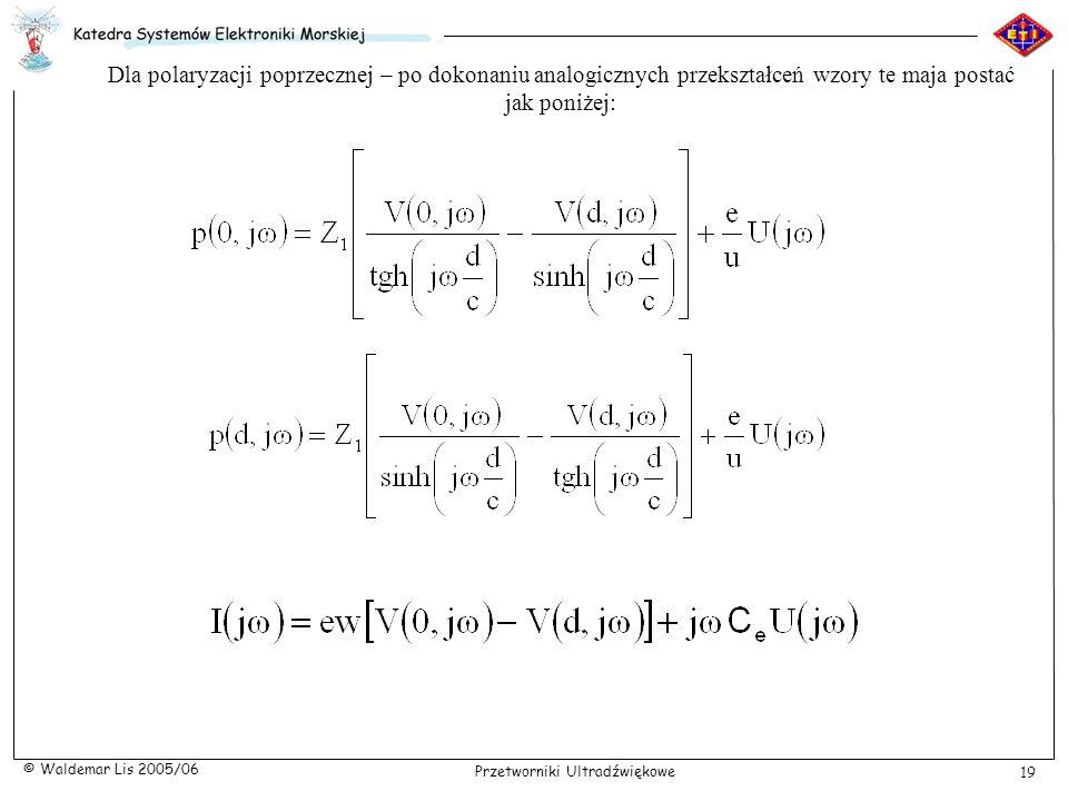Dla polaryzacji poprzecznej – po dokonaniu analogicznych przekształceń wzory te maja postać jak poniżej: