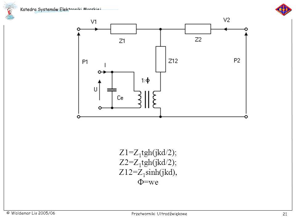 Z1=Z1tgh(jkd/2); Z2=Z1tgh(jkd/2); Z12=Z1sinh(jkd), F=we