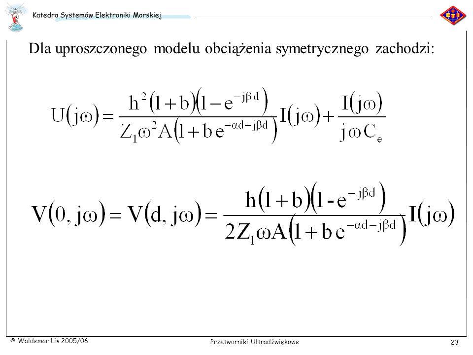 Dla uproszczonego modelu obciążenia symetrycznego zachodzi: