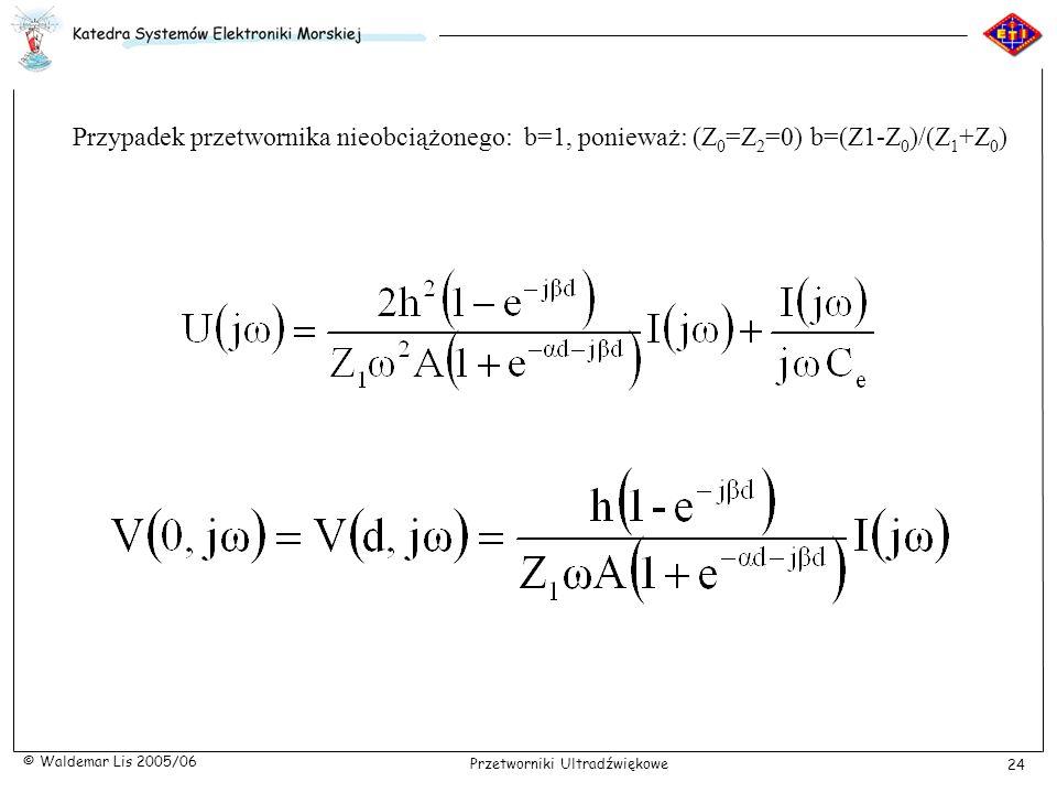 Przypadek przetwornika nieobciążonego: b=1, ponieważ: (Z0=Z2=0) b=(Z1-Z0)/(Z1+Z0)