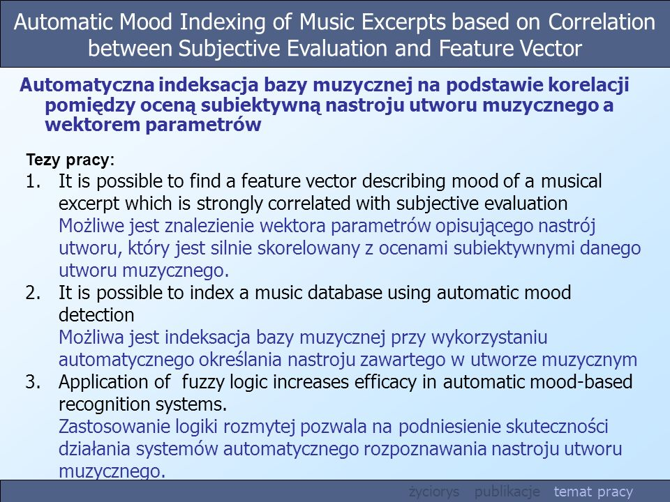 Automatic Mood Indexing of Music Excerpts based on Correlation between Subjective Evaluation and Feature Vector