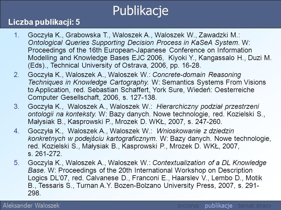 Publikacje Liczba publikacji: 5