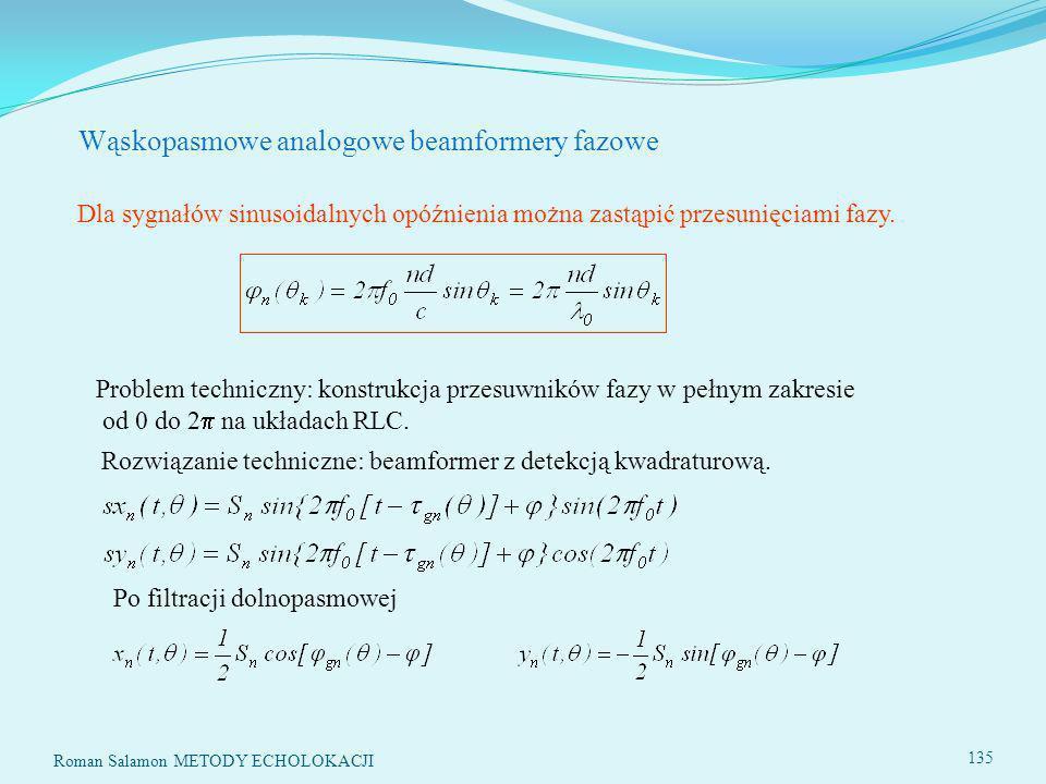 Wąskopasmowe analogowe beamformery fazowe