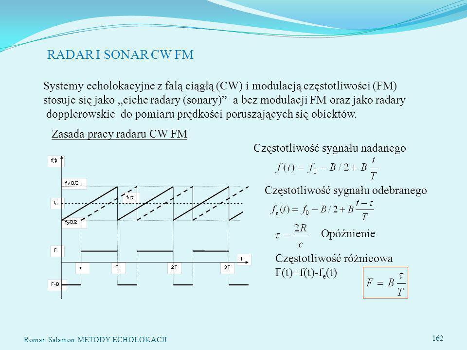 RADAR I SONAR CW FM Systemy echolokacyjne z falą ciągłą (CW) i modulacją częstotliwości (FM)