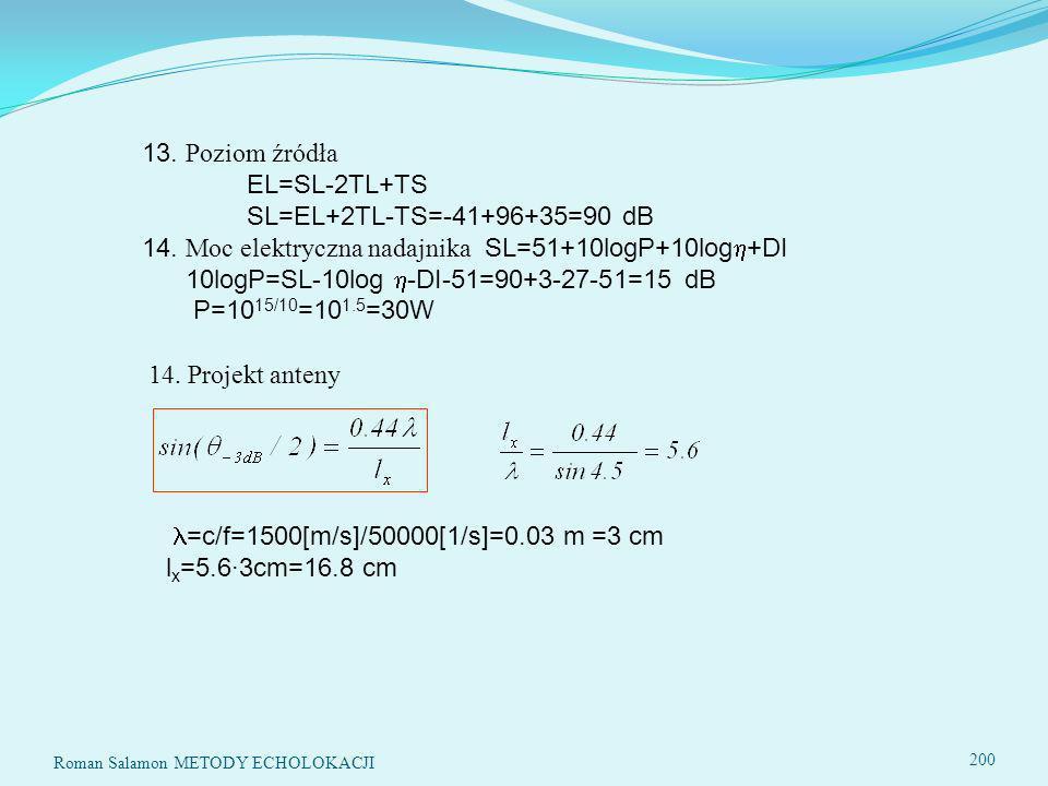 14. Moc elektryczna nadajnika SL=51+10logP+10log+DI