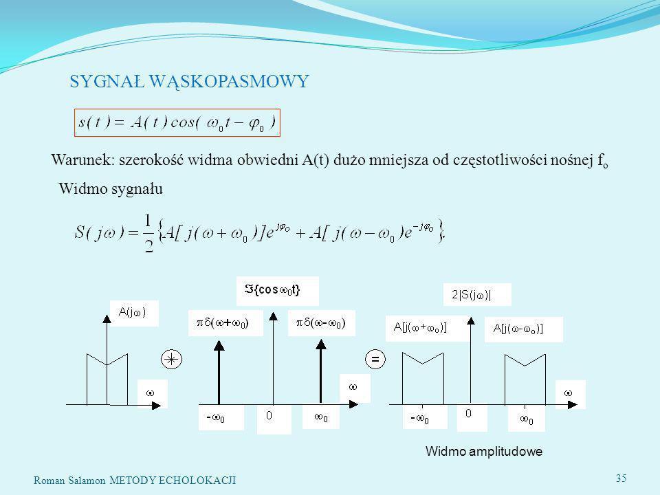 SYGNAŁ WĄSKOPASMOWY Warunek: szerokość widma obwiedni A(t) dużo mniejsza od częstotliwości nośnej fo.