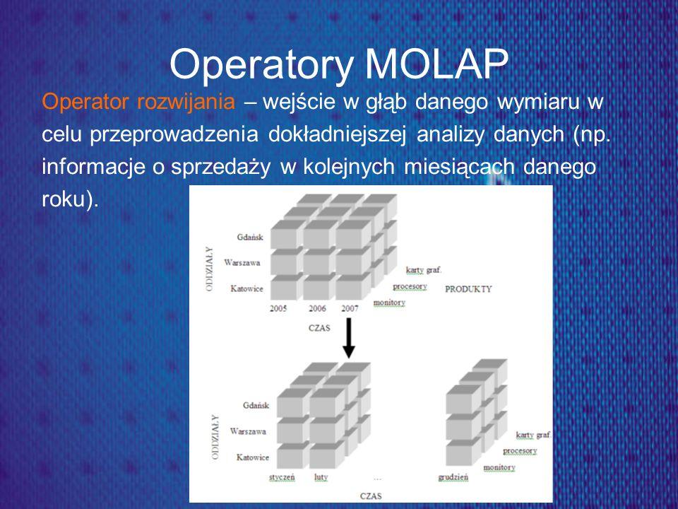 Operatory MOLAP Operator rozwijania – wejście w głąb danego wymiaru w