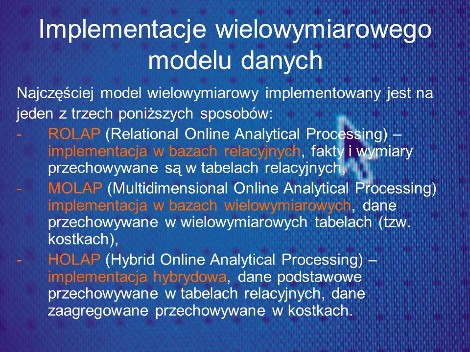 Implementacje wielowymiarowego modelu danych