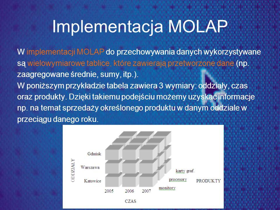 Implementacja MOLAP W implementacji MOLAP do przechowywania danych wykorzystywane. są wielowymiarowe tablice, które zawierają przetworzone dane (np.