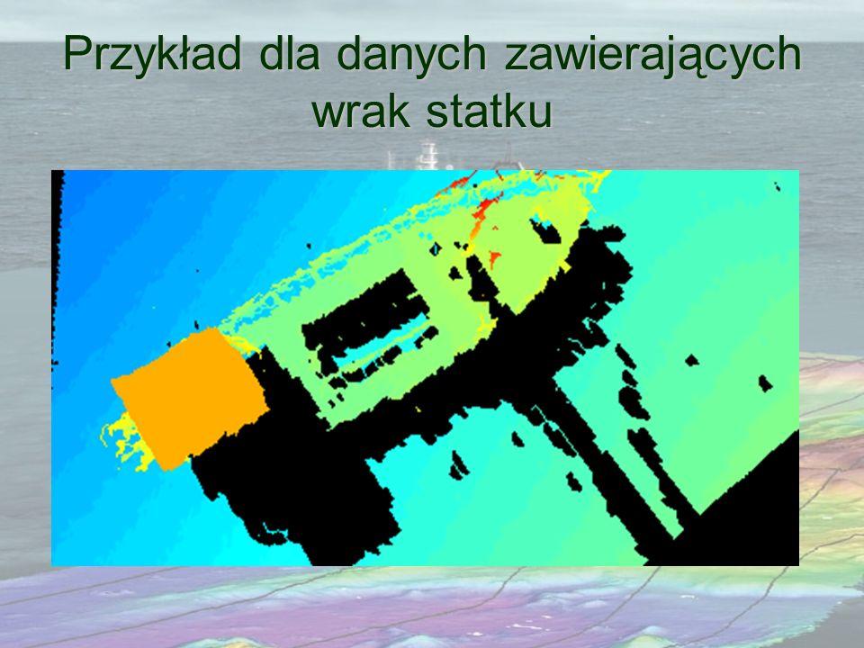Przykład dla danych zawierających wrak statku