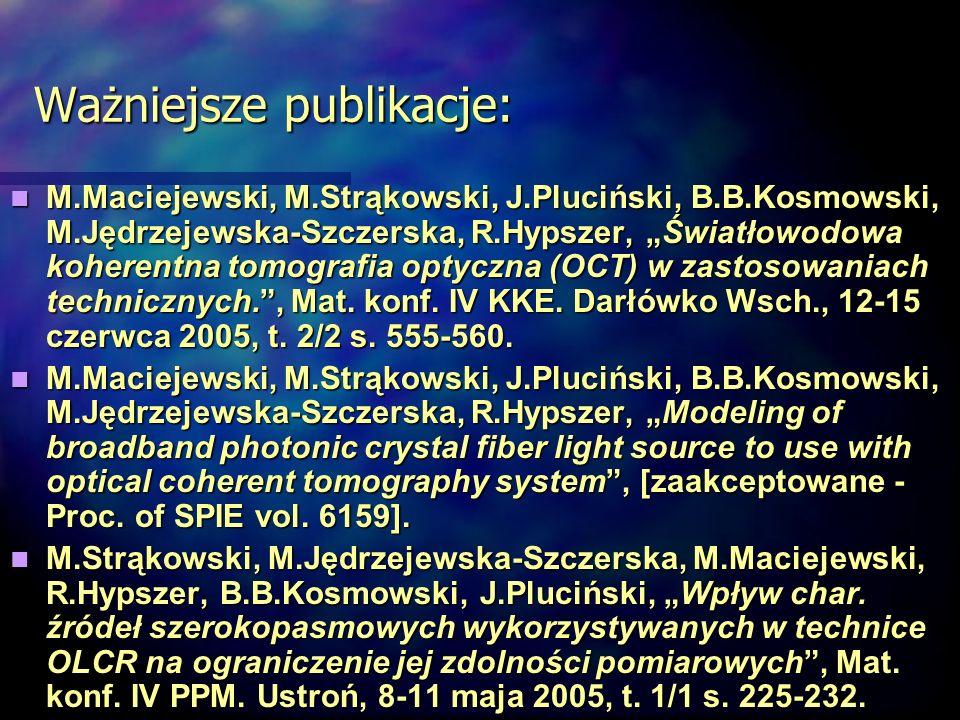 Ważniejsze publikacje:
