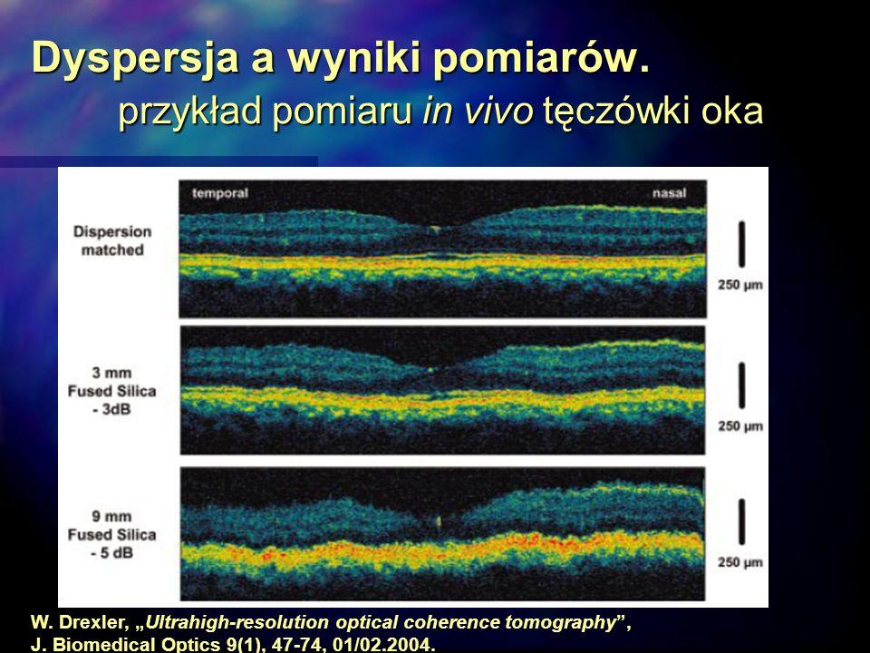 Dyspersja a wyniki pomiarów. przykład pomiaru in vivo tęczówki oka