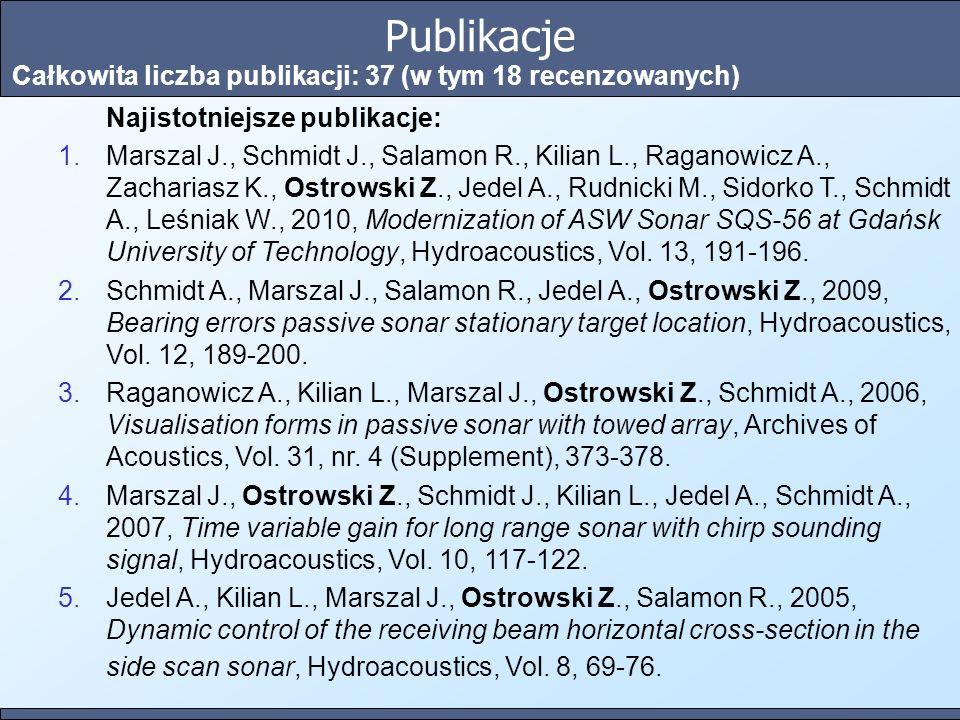 Publikacje Całkowita liczba publikacji: 37 (w tym 18 recenzowanych)