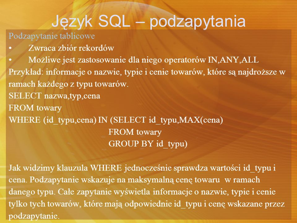 Język SQL – podzapytania