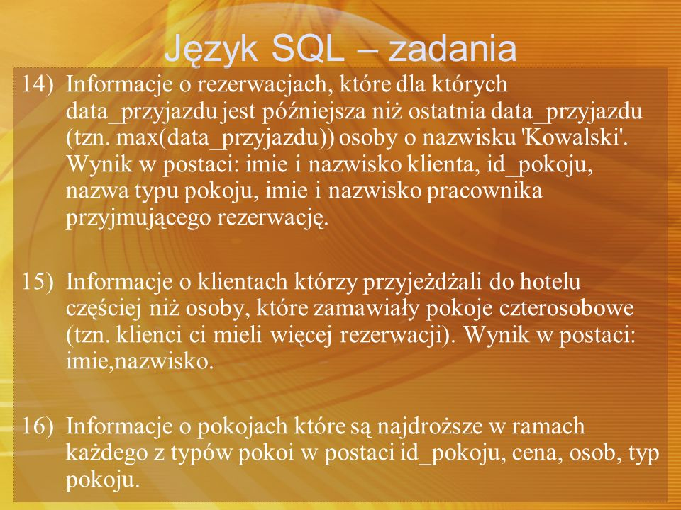Język SQL – zadania