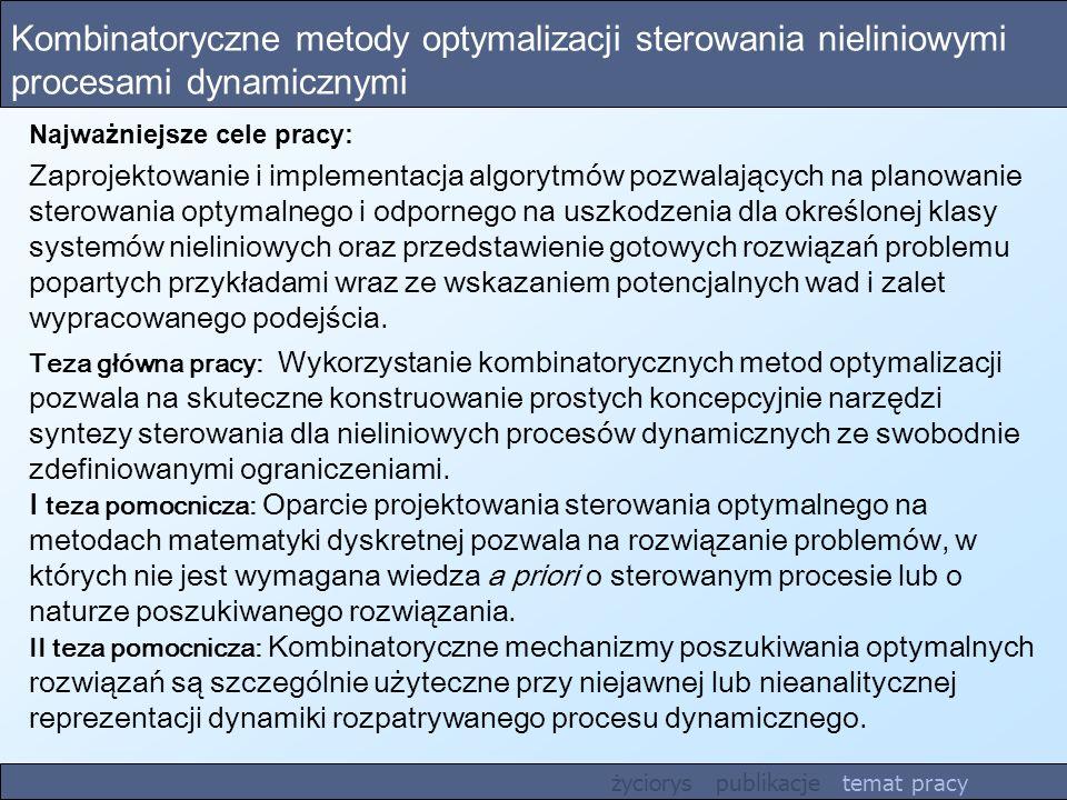 Kombinatoryczne metody optymalizacji sterowania nieliniowymi procesami dynamicznymi