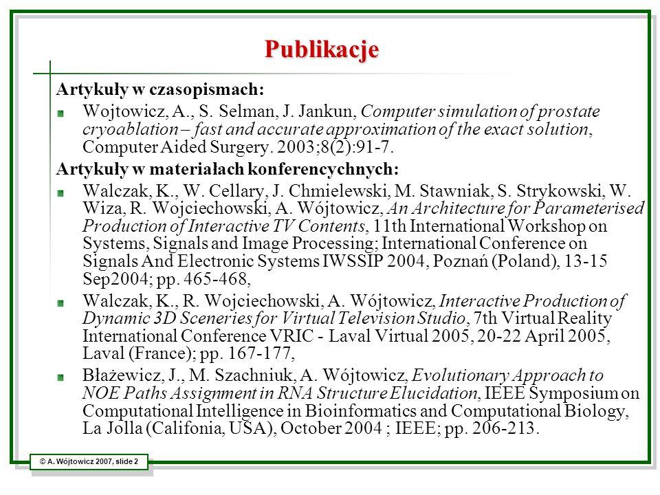 Publikacje Artykuły w czasopismach: