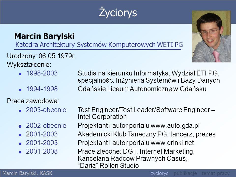 Marcin Barylski Katedra Architektury Systemów Komputerowych WETI PG