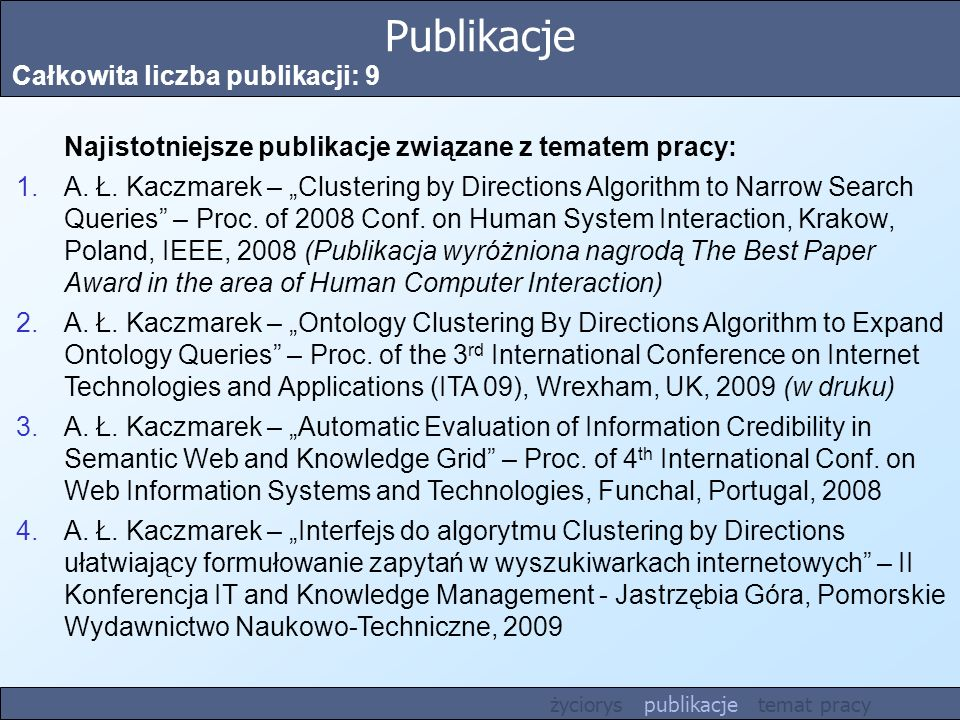 Publikacje Całkowita liczba publikacji: 9