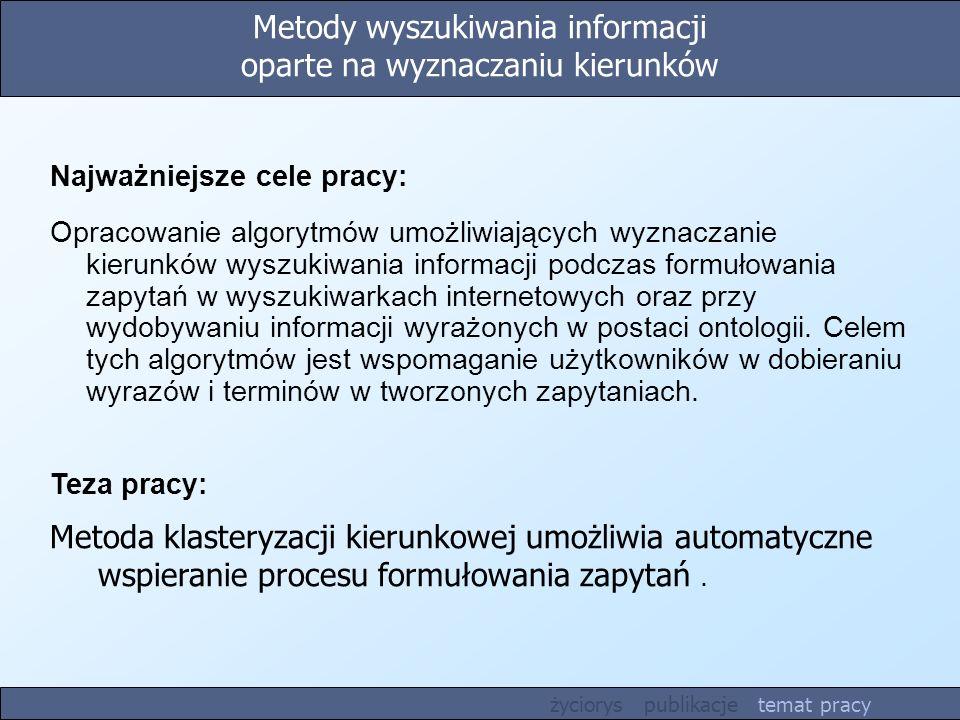 Metody wyszukiwania informacji oparte na wyznaczaniu kierunków