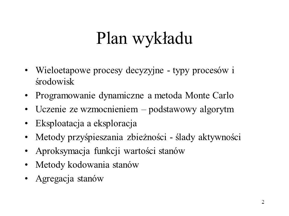 Plan wykładu Wieloetapowe procesy decyzyjne - typy procesów i środowisk. Programowanie dynamiczne a metoda Monte Carlo.