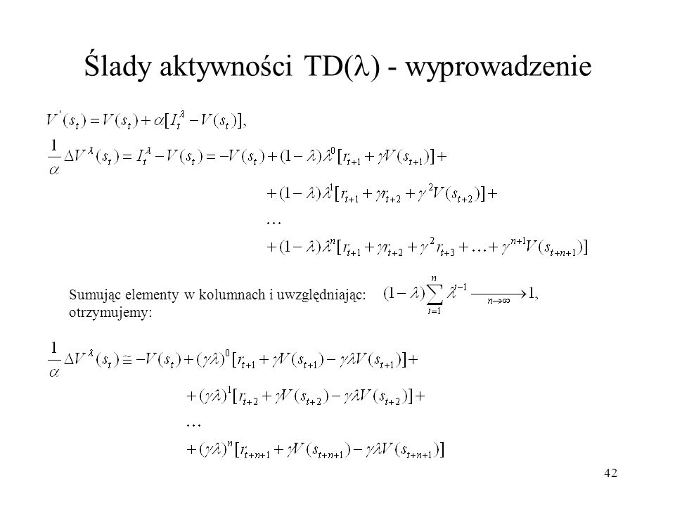 Ślady aktywności TD() - wyprowadzenie