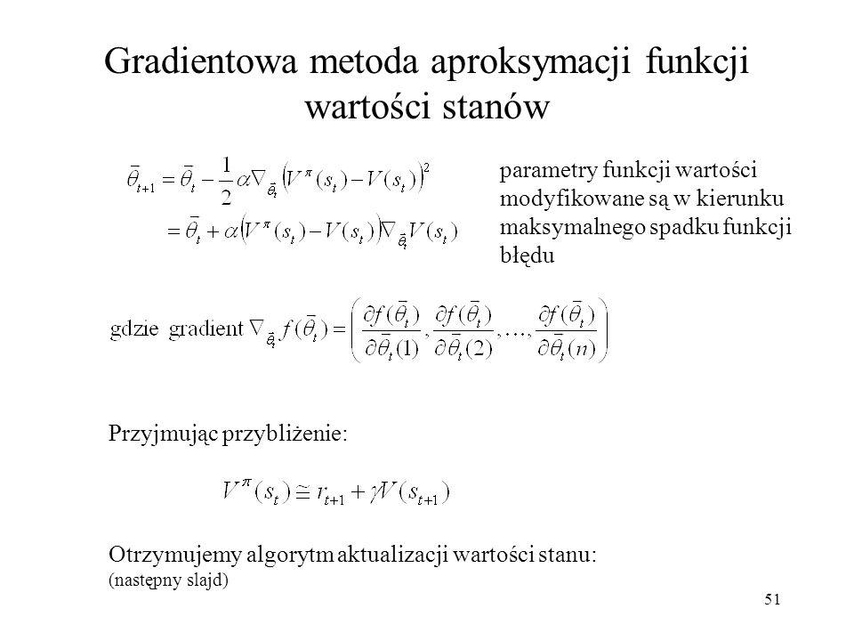 Gradientowa metoda aproksymacji funkcji wartości stanów