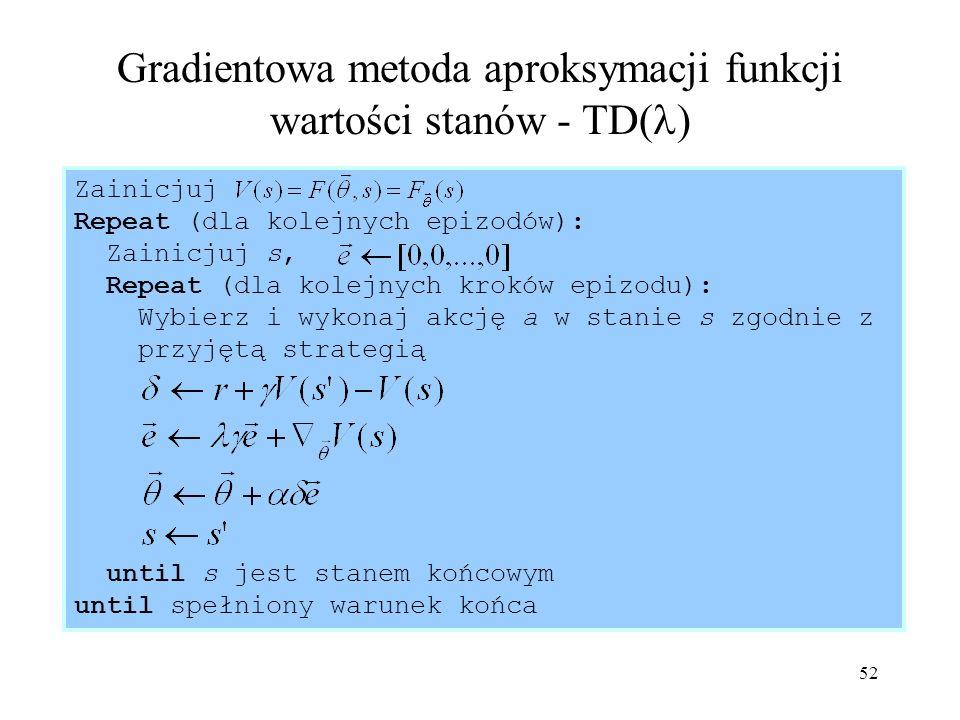 Gradientowa metoda aproksymacji funkcji wartości stanów - TD()