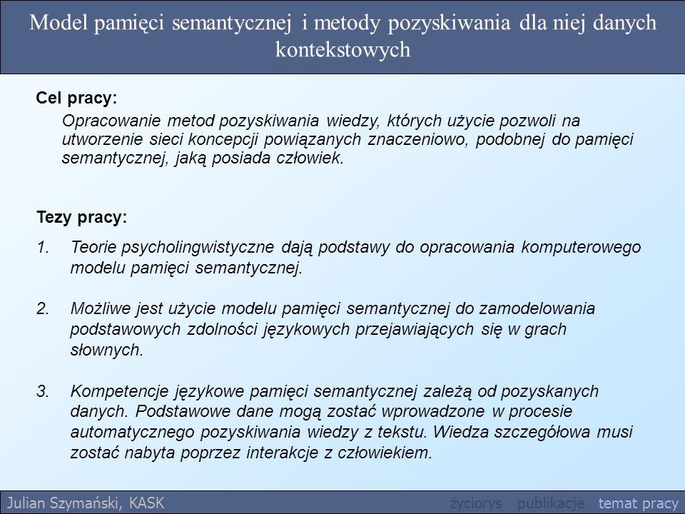 Model pamięci semantycznej i metody pozyskiwania dla niej danych kontekstowych