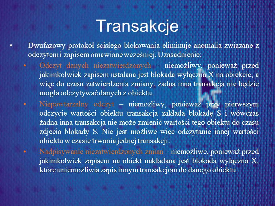 Transakcje Dwufazowy protokół ścisłego blokowania eliminuje anomalia związane z odczytem i zapisem omawiane wcześniej. Uzasadnienie: