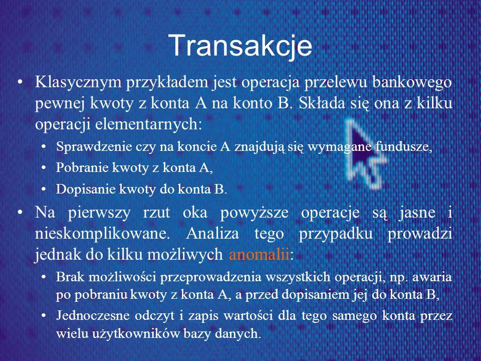Transakcje Klasycznym przykładem jest operacja przelewu bankowego pewnej kwoty z konta A na konto B. Składa się ona z kilku operacji elementarnych: