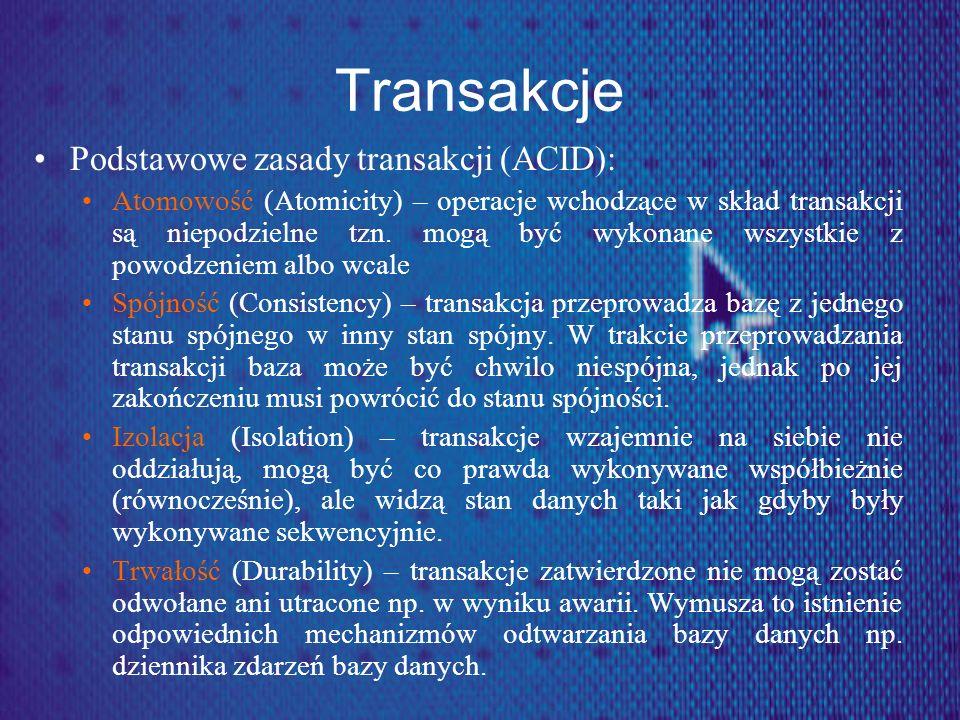 Transakcje Podstawowe zasady transakcji (ACID):