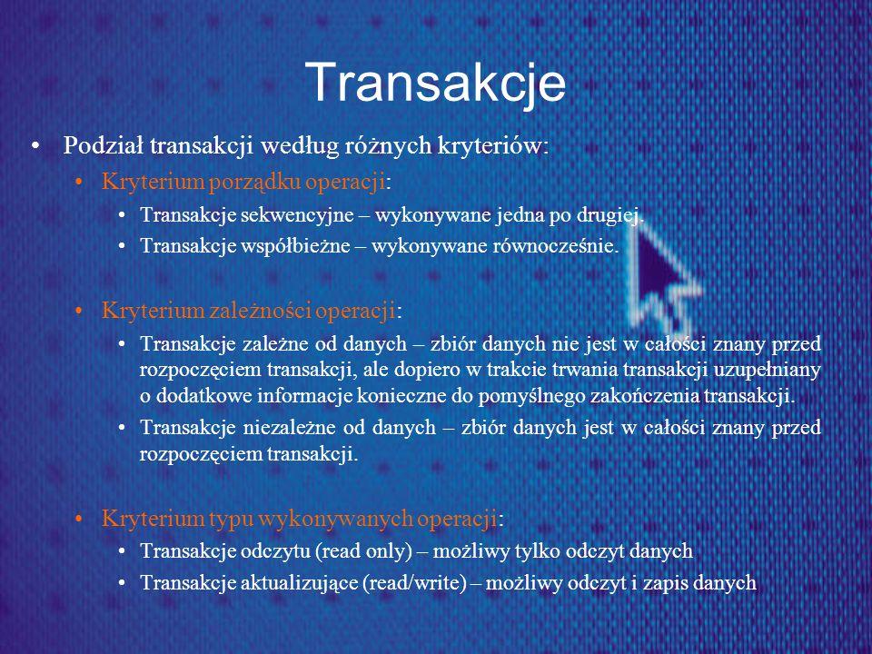 Transakcje Podział transakcji według różnych kryteriów: