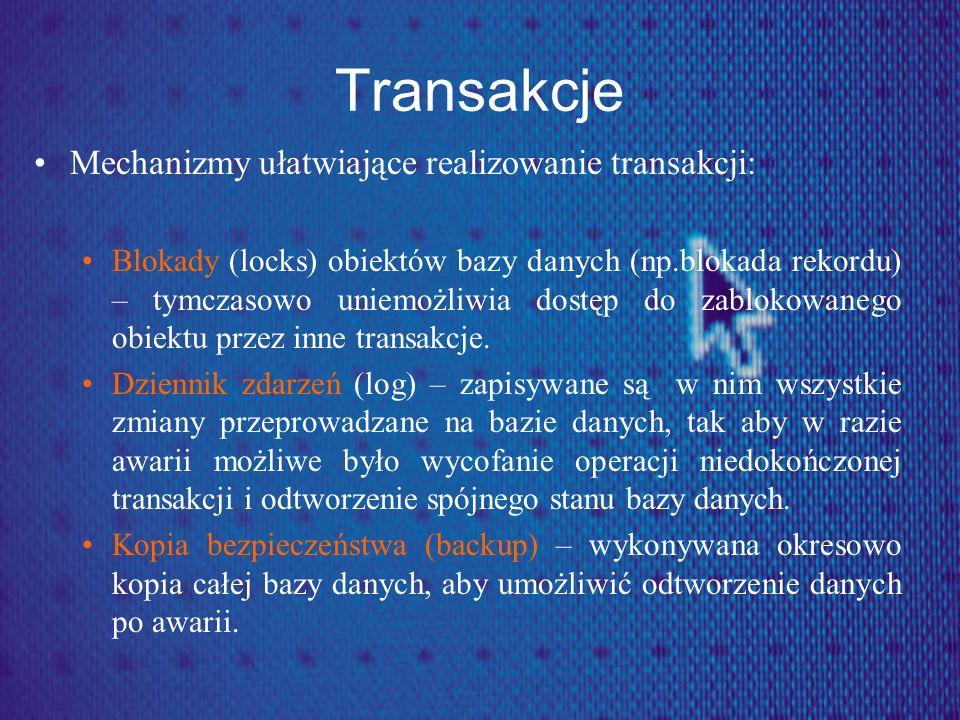 Transakcje Mechanizmy ułatwiające realizowanie transakcji: