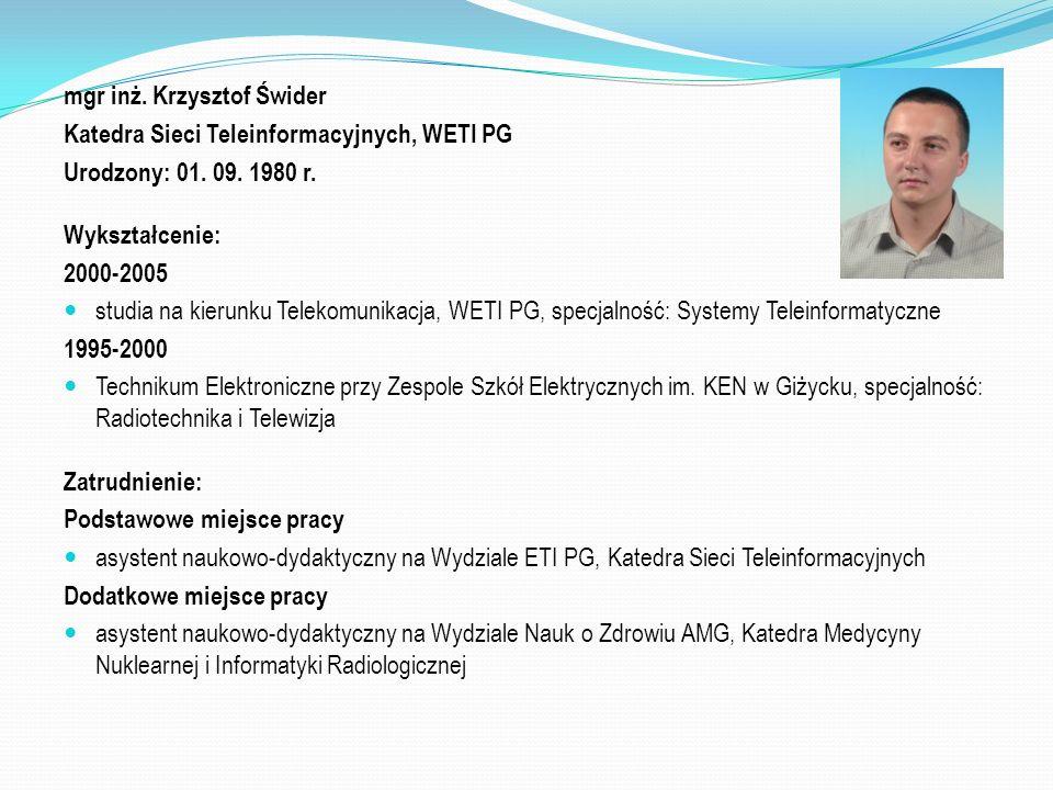 mgr inż. Krzysztof Świder