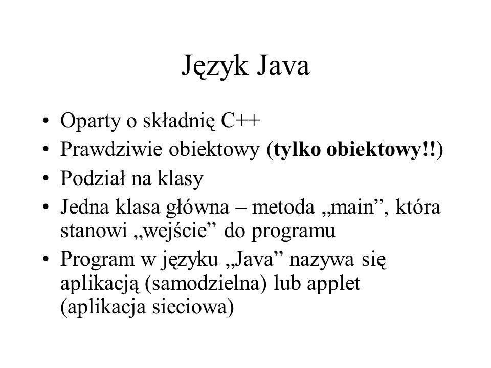 Język Java Oparty o składnię C++
