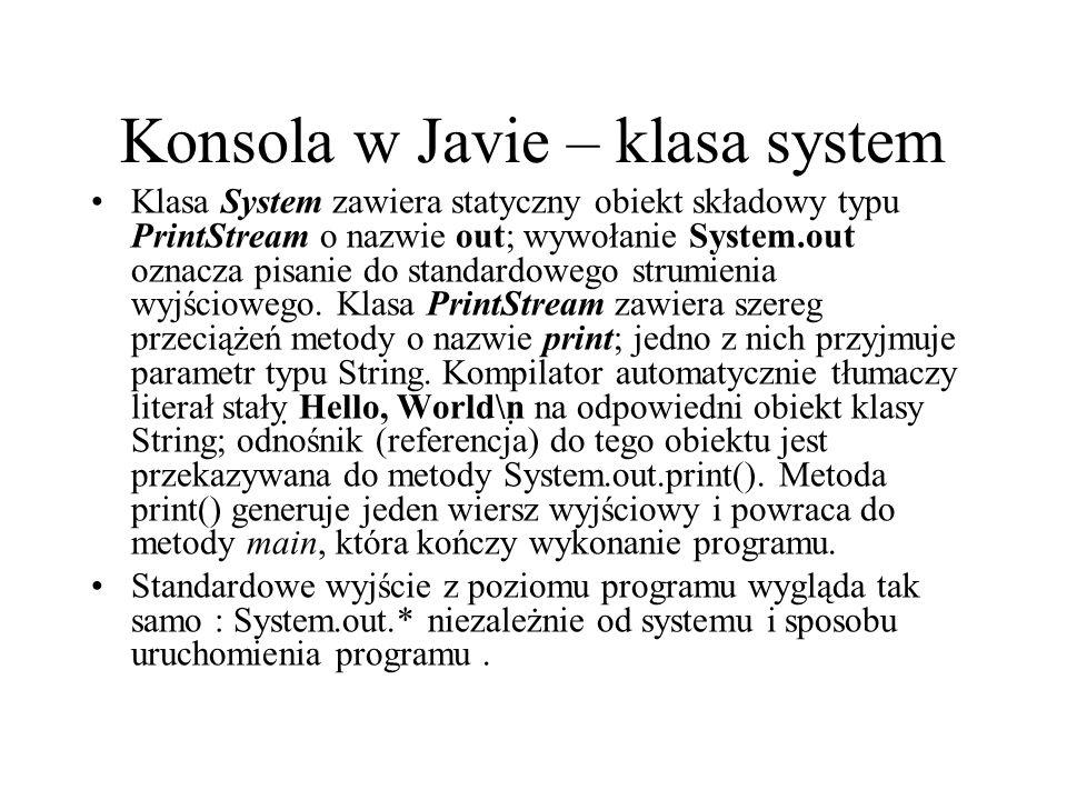 Konsola w Javie – klasa system
