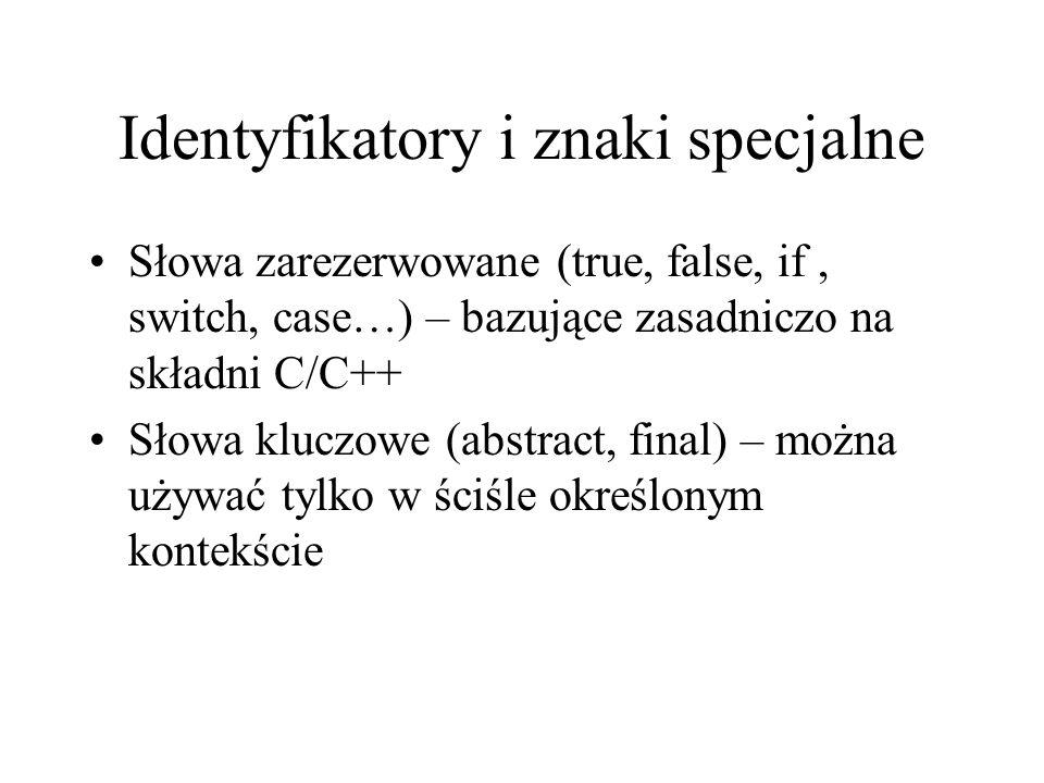 Identyfikatory i znaki specjalne