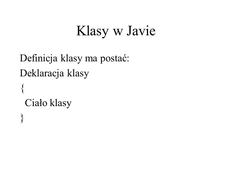 Klasy w Javie Definicja klasy ma postać: Deklaracja klasy {