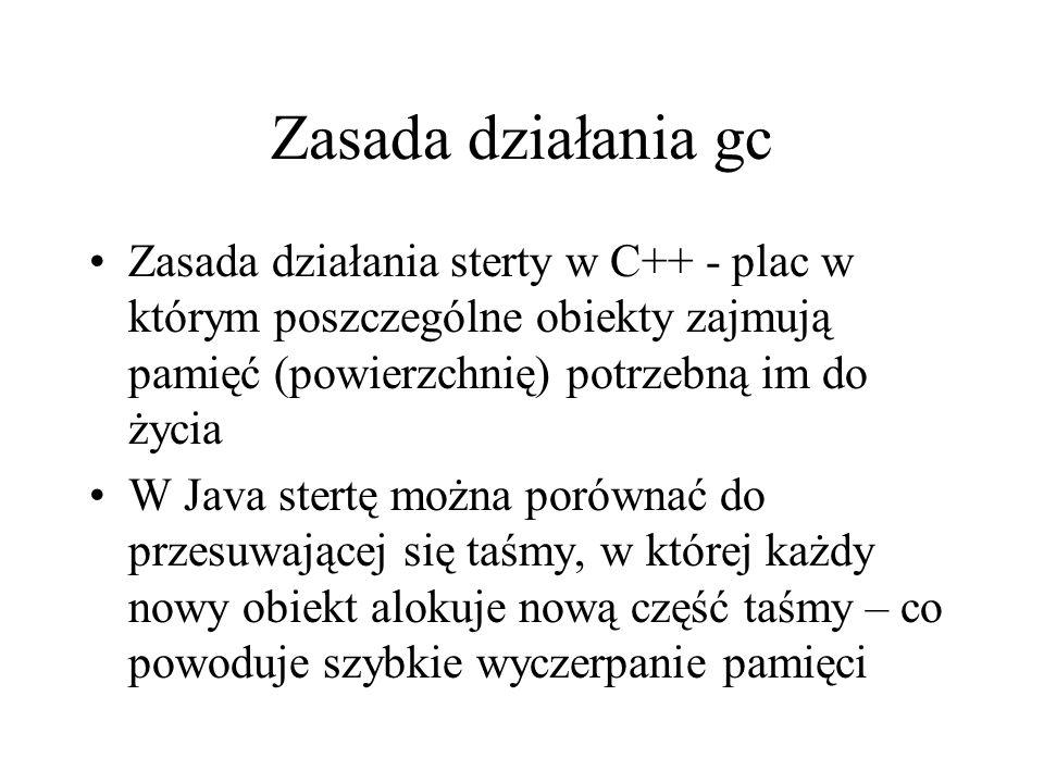 Zasada działania gc Zasada działania sterty w C++ - plac w którym poszczególne obiekty zajmują pamięć (powierzchnię) potrzebną im do życia.