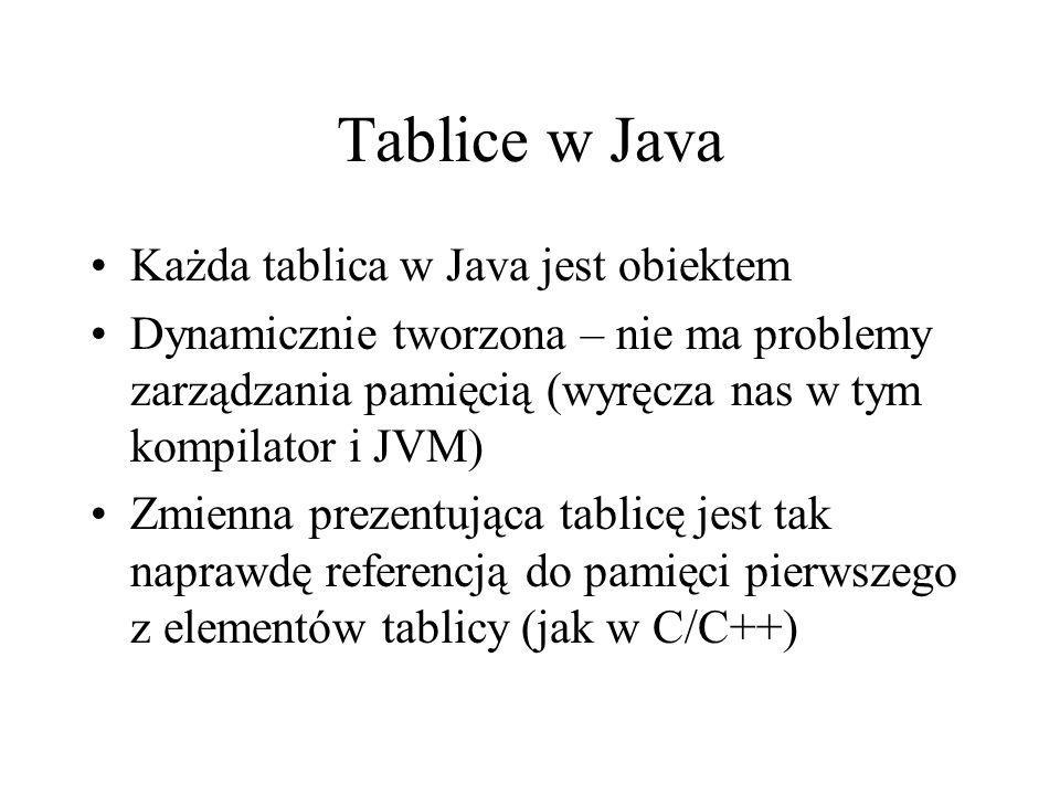 Tablice w Java Każda tablica w Java jest obiektem