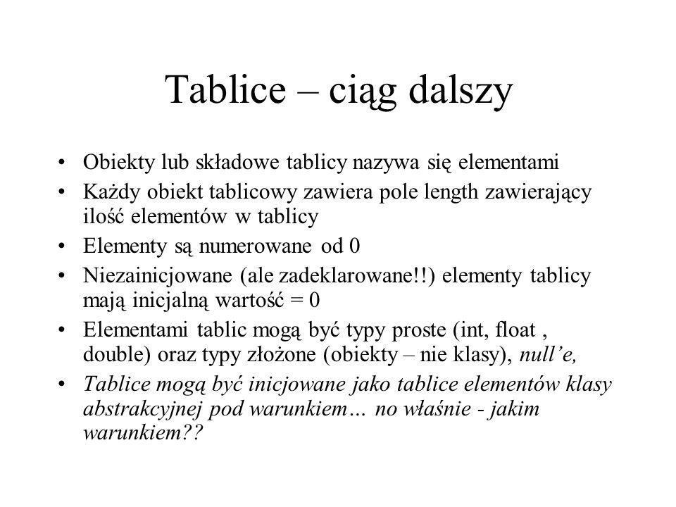 Tablice – ciąg dalszy Obiekty lub składowe tablicy nazywa się elementami.